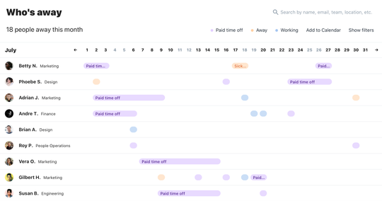 Absence tracking calendar view showing a bunch of people that have taken time off