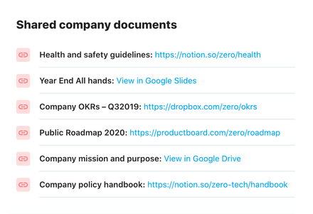 A list of shared company documents