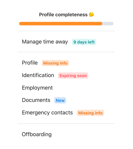 Profile completeness view with missing info label, soon expiring identification label and new documents label