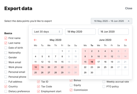 Data export form with the date picker opened