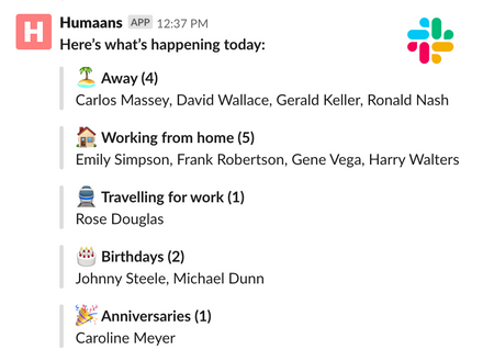 Time away Slack integration showing a message with today's events