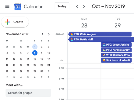 Time away Calendar integration showing time off entries populated in the calendar