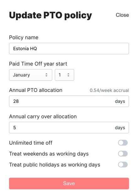 PTO Policy configuration form
