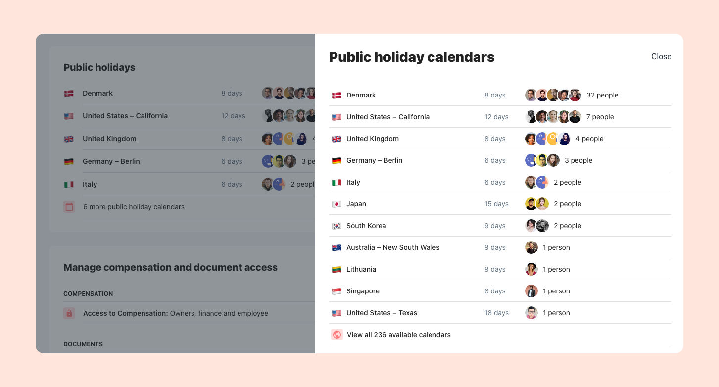 A list of public holiday calendars used by the company